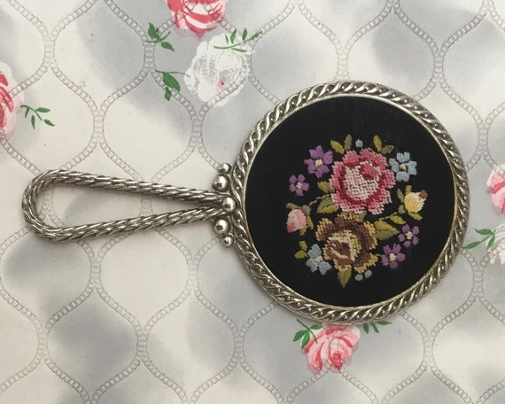 Vintage mini hand mirror, black with pink floral embroidery, c 1950s or 1960s