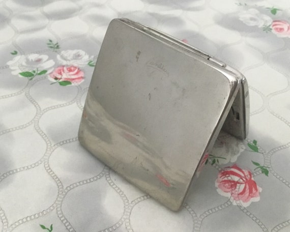Yardley powder compact, c 1930s with concave mirror, c1940s silver metal square makeup mirror,