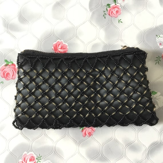Vintage purse with black beads, c1950s.  This black beaded evening purse was Made in Hong Kong.