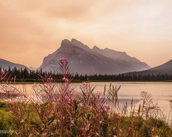 Sunrise at Vermillion Lakes, Alberta Canada - Mountain Photography, Landscape Photography, Fine Art Prints, Wall Art