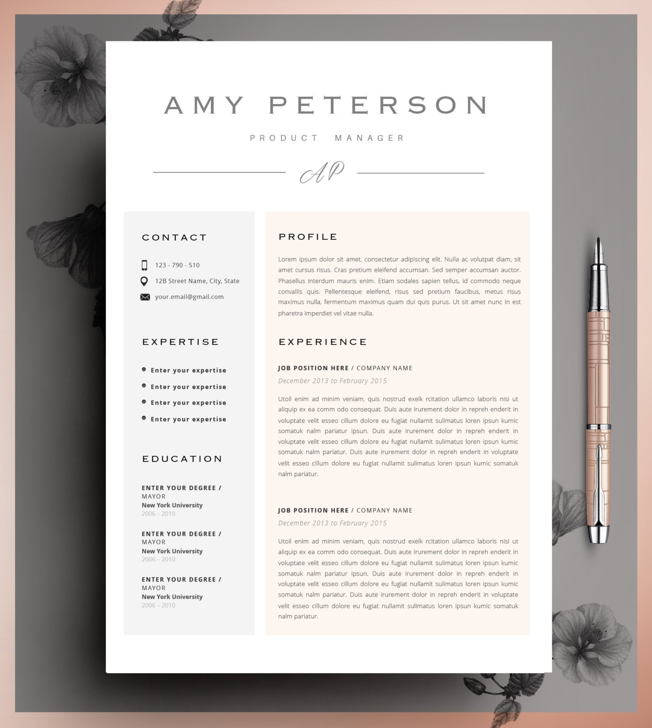 Professional Cv Curriculum Vitae 2 Page Resume Simple Etsy