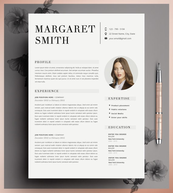Teacher Resume Resume Template 2 Page Resume Cv Template Etsy
