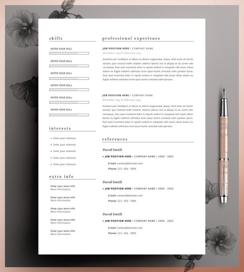 CV Template Editable in MS Word and Pages Professional Resume Template Instant Digital Download Size A4 and US Letter