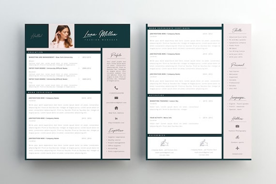 Fashion Resume Cv Template Resume Template Creative Resume 2 Page Resume Instant Download Editable In Ms Word And Pages Cover Letter