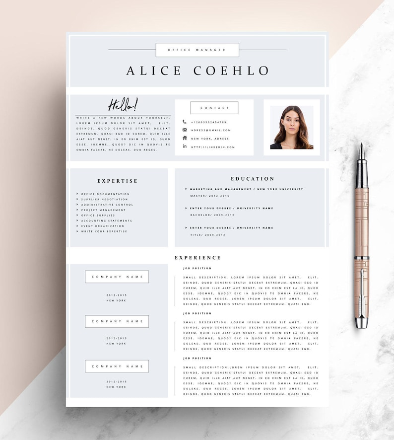 CV Resume Template Word 1 Page Modern