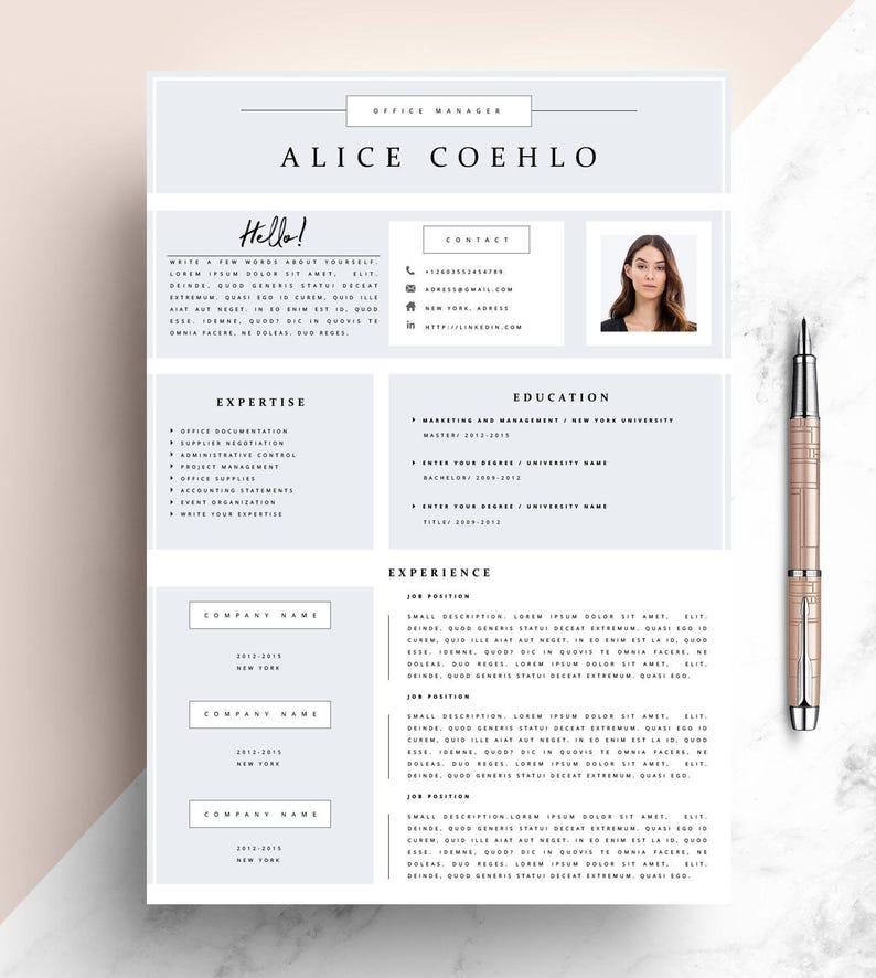 CV, Resume Template Word, 1 Page Resume Template, Modern Resume Template,  Creative Resume Template, Teacher Resume Template, Minimalistic.