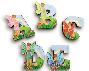 Fairy Girl Wooden Letters with Illustrated Faces (Rainbow Font) - Kids Names on Doors & Walls etc.