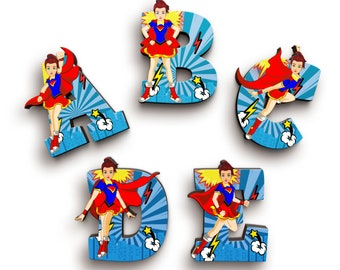 Superhero Girl Wooden Letters with Illustrated Faces - Kids Names on Doors & Walls etc.