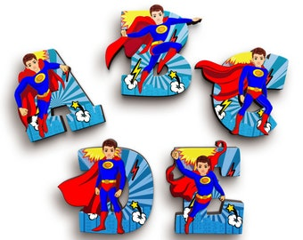Superhero Boy Wooden Letters with Illustrated Faces - Kids Names on Doors & Walls etc.