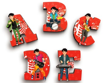 Musician Boy Wooden Letters with Illustrated Faces - Kids Names on Doors & Walls etc.