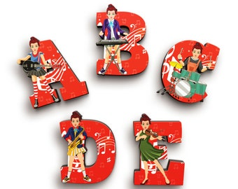 Musician Girl Wooden Letters with Illustrated Faces - Kids Names on Doors & Walls etc.