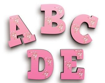 Ballet Pink Lacy Shoes Font Wooden Letters - Sports Wood Letters - Door Wooden Letters - Baby Shower Gift - Nursery Decor - Alphabet Letters