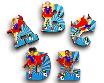 Super Hero Girl Wooden Letters with Personalised Faces - Kids Names on Doors & Walls etc.