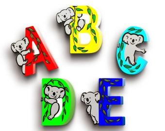 Nursery Wooden Letters - Koala Letters - Wood Name Letters - Children's Letters - Baby Shower Gift - Koala Nursery Decor
