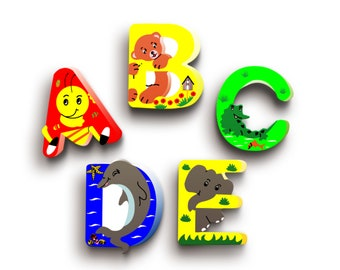 Nursery Wooden Letters - Animal Letters - Wood Name Letters - Door Wooden Letters - Baby Shower Gift - Animal Nursery Decor