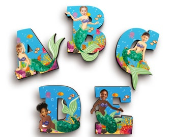 Mermaid Girl Gift - Nursery Wooden Letters - Personalised Wood Name Letters - Alphabet Letters with Personalised Face - Kids Room Decor