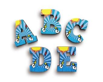 Superhero Superman Superwoman Font Wooden Letters - Wood Letters - Door Wooden Letters - Baby Shower Gift - Nursery Decor - Alphabet Letters