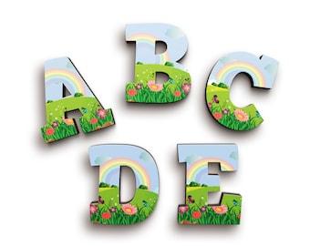 Rainbow and Flower Garden Font Wooden Letters - Wood Name Letters - Door Wooden Letters - Baby Shower Gift - Nursery Decor - Alphabet Letter