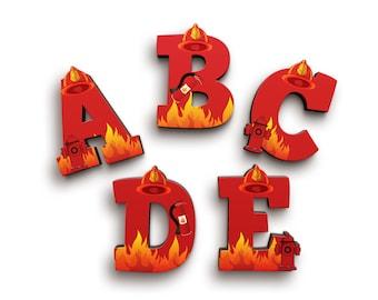 Firefighter Fireman Firewoman Font Wooden Letters - Wood Letters - Door Wooden Letters - Baby Shower Gift - Nursery Decor - Alphabet Letters