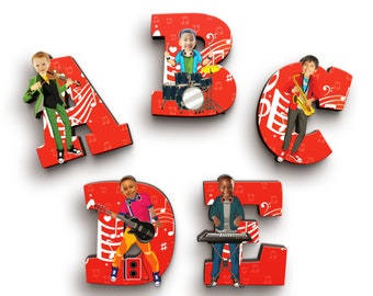 Musician Boy Wooden Letters with Personalised Faces - Kids Names on Doors & Walls etc.