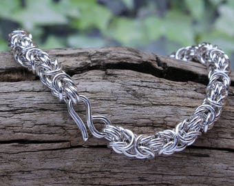 1oz  Silver Byzantine Bracelet Hand Crafted in solid 925 Sterling Silver Classic Design