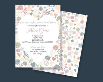 Pastel Heart Bridal Shower Invitation