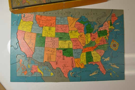 United States Map Puzzle Whitman Publishing Free Shipping Etsy