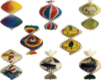 Decorated Wood Wind Spinner