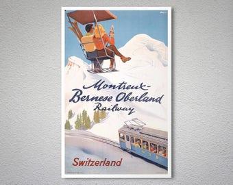 Vintage Montreux Switzerland Railway Poster A3 A2  Reprint