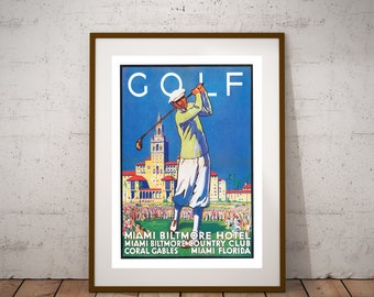golf miami vintage poster poster sticker or canvas print gift idea christmas gift