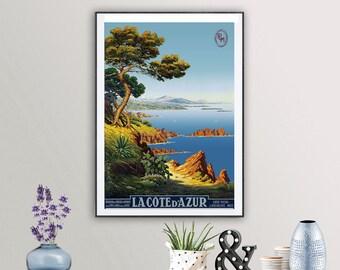 De Tanguy Cote D/'azur France Travel Advert Framed Wall Art Poster