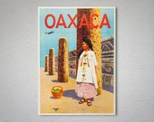 Oaxaca, Mexica Vintage Travel Poster - Poster Paper, Sticker or Canvas Print Gift Idea