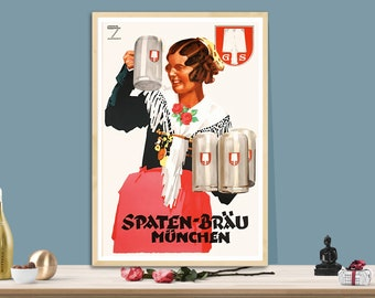 Vintage Lowenbrau Munich Bavarian Beer Advertisement Poster Print A3//A4
