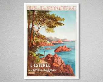 la ciotat VINTAGE TRAVEL POSTER beautiful coastline FRENCH collectible 24X36