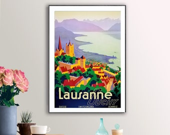 Switzerland Lausanne Ouchy 1929 Vintage Poster Print Retro Style Travel Art