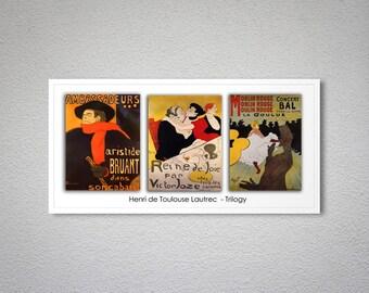 20411eb3c02 Henri de Toulouse Lautrec trilogie - Vintage Lautrec Poster - affiche  impression