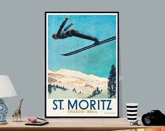 Vintage Skiing Poster A1 A2 A3 A4 Größen