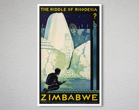 Vintage BOAC Flights to Rhodesia Zimbabwe Airline Poster Print A3//A4