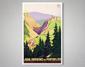 Jura Environs de Pontarlier Vintage Travel Poster - Poster Print, Sticker or Canvas Print / Gift Idea