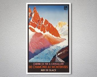Chemin de Fer a Cremaillere de Chamonix Vintage Travel Poster -  Poster Print, Sticker or Canvas Print / Gift Idea