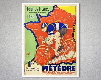 Meteore Tour de France, 1925  Vintage Bicycle Poster - Poster Print, Sticker or Canvas Print / Gift Idea