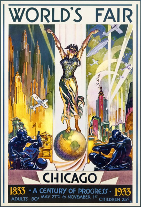 World's Fair Chicago, 1933 Travel Poster - Poster Print, Sticker or Canvas  Print / Gift Idea / Christmas Gift