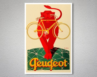 Peugeot Cycle Vintage Bicycle Poster - Poster Print, Sticker or Canvas Print / Gift Idea