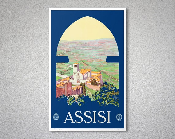 VINTAGE ASSISI ITALY TRAVEL A4 POSTER PRINT
