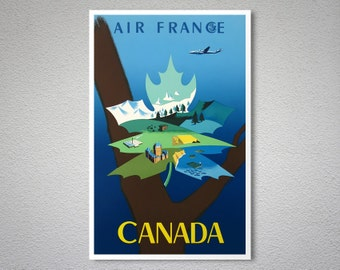 Canada Air France Vintage Travel Poster, Canvas Giclee Print / Gift Idea