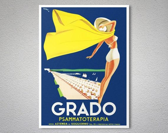 Grado Italy Vintage Travel Poster - Poster Print, Sticker or Canvas Print /  Gift Idea / Christmas Gift