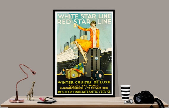 """1930s """"Holland British India Line"""" Vintage Style Cruise Travel Poster 24x36"""