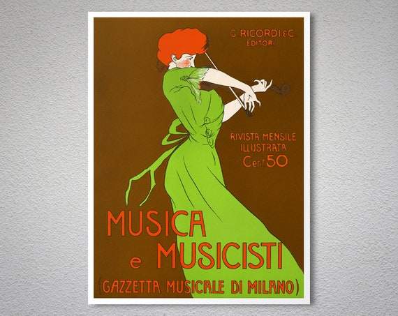 MUSICA MUSICISTI MUSIC WOMAN PLAYING VIOLIN ITALY CAPPIELLO VINTAGE POSTER REPRO