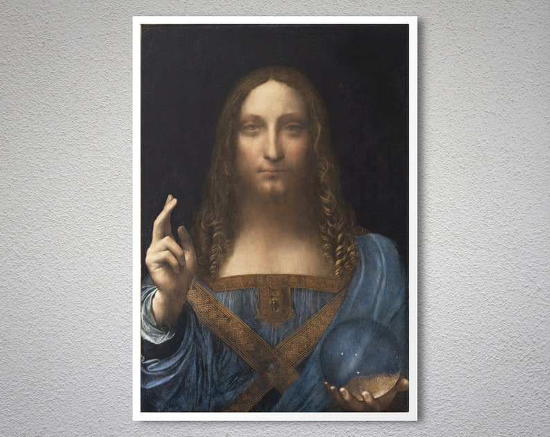 Salvator Mundi by Leonardo da Vinci, 1500 Fine Art Print - Poster Paper,  Sticker, Canvas Print / Gift Idea / Christmas Gift