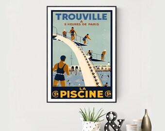 Trouville La Piscine, France Vintage Travel Poster - Poster Paper, Sticker or Canvas Print / Gift Idea / Wall Decor